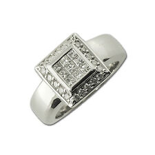 Diamond Princess Cut & Round Shape Anniversary Ring 0.55 ct tw in 14K Gold