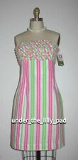 NWT Lilly Pulitzer FRANCO Seersucker RUFFLE DRESS 00 0 2 Strapless Pink Green