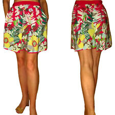 M Missoni Italy Tropical Floral Logo Print Silk Full Hot Pink Skirt IT42 XS/S