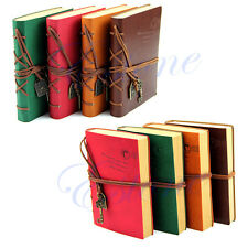 Classic Retro Vintage Leather Notebook Bound Blank Pages Journal Diary Notepad