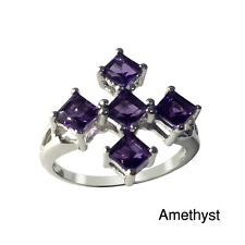 Jewelry By V3 Sterling Silver Choice of 4mm Square-cut Gemstone Five-Stone Ring