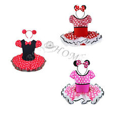 Kids Girls MINNIE MOUSE Costume Ballet Tutu Fancy Dress Up Cosplay Outfit + Ears