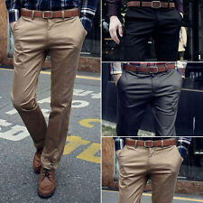 Fashion Men Formal Business Pants Slim Fit Straight Jeans Solid Slacks Trousers