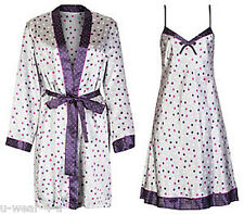 MARKS & SPENCER NIGHTWEAR SPOT SATIN NIGHTDRESS & DRESSING GOWN WRAP CHEMISE M&S