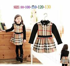 Baby Kids Girls Spring Casual Clothes Long Sleeves Outwear Dress 2-6 Year KK19