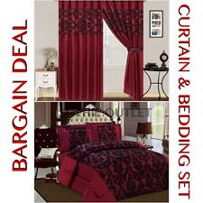 Bargain Deal Damask 4 Pcs Complete Bedding Set With Pair Of Flock Curtain MAROON