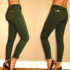 $215 Seven 7 For All Mankind Skinny Dark Army Green Khaki Leg Zipper Jeans 24-32
