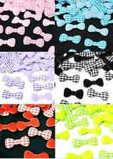 50 PADDED BOW RIBBON GINGHAM FABRIC APPLIQUES SCRAPBOOK CHRISTMAS CARD DIY CRAFT