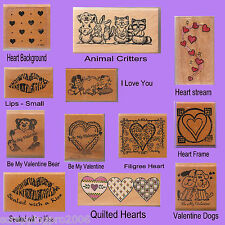 ASSORTED VALENTINE WOOD MOUNTED RUBBER STAMPS - HEARTS, BEARS, DOGS - VINTAGE