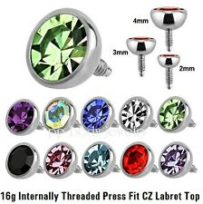 1pc.16G~2-3-4mm CZ Top 316L Internally Threaded Replacement Labret Monroe Tragus