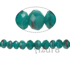 Millefiori Faceted Crystal Glass Round Rondelle Beads 8x6mm, Teal Green