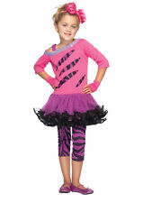Child Girls Pink And Purple 80's Rockstar Cosplay Halloween Costume Fancy Dress