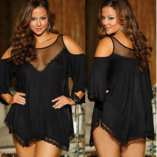 Sexy Women Casual Sleeve Lace Party Evening Cocktail Short Mini Dress Plus Size