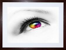 PHOTO COMPOSITION EYE EYEBALL COLOURED CONTACT LENS  FRAME ART PRINT  F97X843
