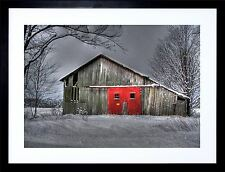WINTER BARN RED DOOR PHOTO  GIFT FRAME ART PRINT PICTURE FRAMED F97X1929