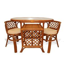 Borneo Handmade Rattan Wicker COMPACT 3 pc Dining Set,Oval Table+2 Chairs