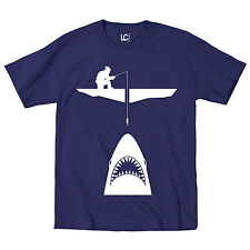 Ice Fishing With Shark Funny Ocean Jaw Fish Boat Novelty Hunting  - Mens T-Shirt