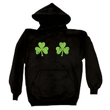Twin Shamrocks Chest Naughty Funny Drinking St. Patrick's Day Boobs Mens Hoodie