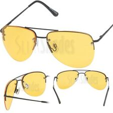 Mens Metal Aviator Sunglasses with Yellow Night Driving Lens