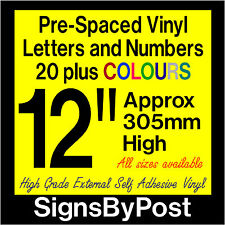"""QTY of: 1 x 12"""" 305mm HIGH STICK-ON SELF ADHESIVE VINYL LETTERS & NUMBERS"""