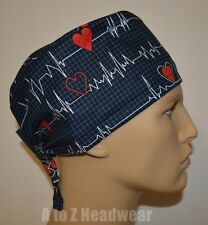 EKG Calling All Nurses Black Unisex Surgical Scrub Cap Hat