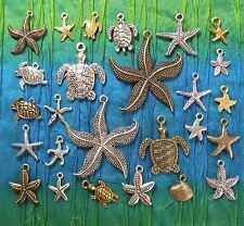 Starfish Sea Turtle Charm Sets -Tibetan Silver Gold Bronze Alloy - USA Seller!!
