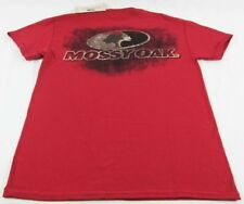 Mens Mossy Oak Brand Camo Distressed Short Sleeve T-Shirt Cardinal Red Sz S L XL