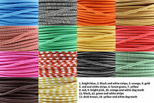 Coloured Braided Fabric Cable. Lighting Lamp Flex. Vintage Industrial Three Core
