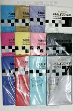 """6 Table Covers 84"""" Round Plastic Tablecloth Table Cloth - Pick Your Color - NEW"""