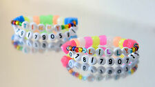 Phone Number & Name Stretch Bracelet Boys & Girls Glow In The Dark Beads Safety