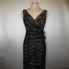 Nwt TAHARI Women's Black Sequin Lace Ruched V-Neck Sheath Dress Miracle Slimming