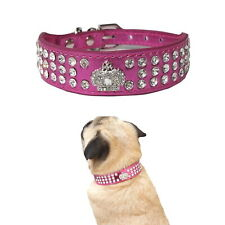 Dog Collar Rhinestone Crown  Pink Purple Blue XS S - Puppy Chihuahua Toy Bling