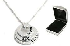 Silver Plated Necklace with Personalised Engraved Chrome Case, Mothers Day Gift