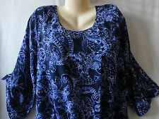 New CATO 1X 2X 3X 4X Womens Blue White Paisley 3/4 Roll Tab Career Church Top