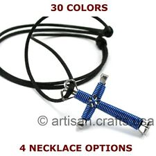 Handmade Wire Wrapped Horseshoe Nail Cross Necklace for Men Women