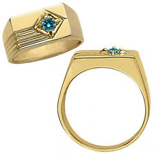 0.20 Carat Blue Diamond Fancy Design Solitaire Engagement Ring 14K Yellow Gold