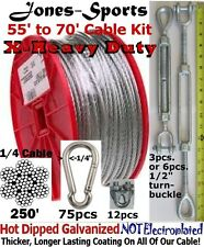X-Heavy Duty 70' Indoor/Outdoor Cable Kit for Baseball Softball Batting Cage Net