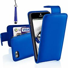 Blue Pu Leather Top Flip Case Cover For Various Mobile Phones + Free Stylus Pen
