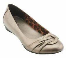 CLARKS Poem Queen Pewter Leather Ballet Flats Many Sizes