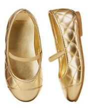 Gymboree Gold Girls Shoes The Green Scene 7 Girls Quilted Gold Ballet Flat NEW