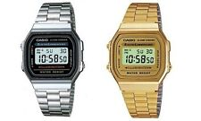 Casio Mens RETRO Quartz chronograph Watch Stainless Steel Strap A168WA & A168WG