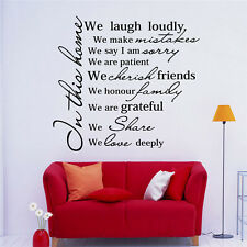 In This Home Quotes Wall Stickers Modern Home Decor Living Room Lettering Decals
