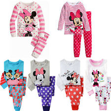 Two-pieces Mickey Mouse Minnie Kids Boys Girls Nightwear Pj's Set Sleepwear 1-7Y