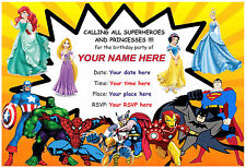 Super Hero and Princess Party ***** Personalised Invites *****