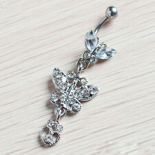 Crystal Butterfly Dangle Ball Barbell Belly Button Navel Ring Body Piercing N6