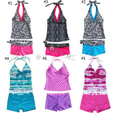 2Pcs Girls Kids Halter Tankini Swimwear Beachwear Bikini Swim Bathing Suit 5-16