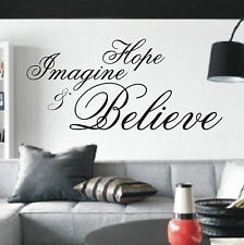 Hope Imagine & Believe wall art sticker quote - 4 sizes - Bedroom wall wa01