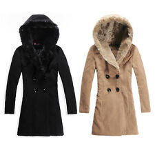 Winter Fashion Ladie Hooded Warm Wool Coat Fur Collar Four Button Jacket Outwear