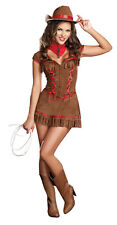 Adult Women's Sexy Western Giddy Up Cowgirl Halloween Costume Fancy Dress