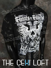 Mens Affliction T-Shirt SAINTS SINNERS in Black Lava Wash & PANELS Style #A10990